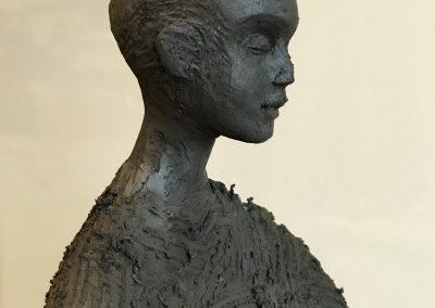 buste argile de femme asiatique