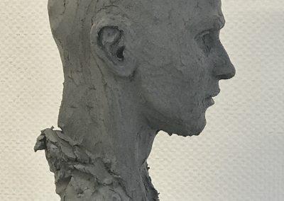 Sculpture argile buste d'homme
